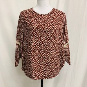 BLACK BEAD Printed Top with Crochet Accents